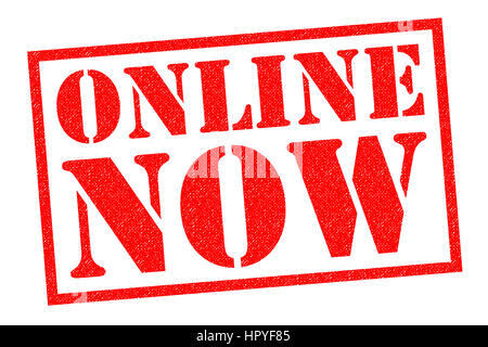 ONLINE NOW red Rubber Stamp over a white background. - Stock Photo