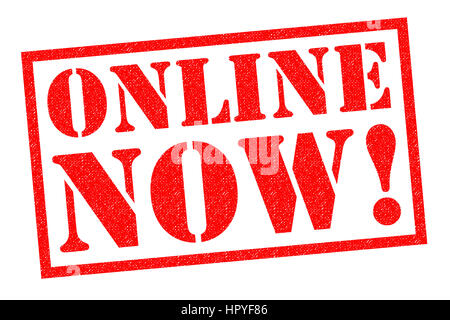 ONLINE NOW! red Rubber Stamp over a white background. - Stock Photo