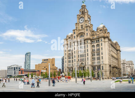 The Royal Liver Building is a Grade I listed building located in Liverpool, England. - Stock Photo