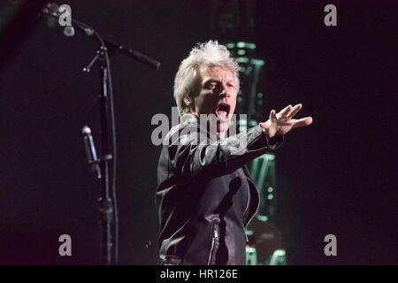 Las Vegas, Nevada, USA. 25th February 2017. Singer Jon Bon Jovi performs live at the T-Mobile Arena on February - Stock Photo