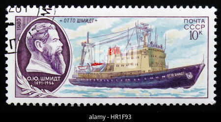 MOSCOW, RUSSIA - FEBRUARY 19, 2017: A Stamp printed in Ussr, shows ship 'Otto Schmidt', series of research fleet, - Stock Photo