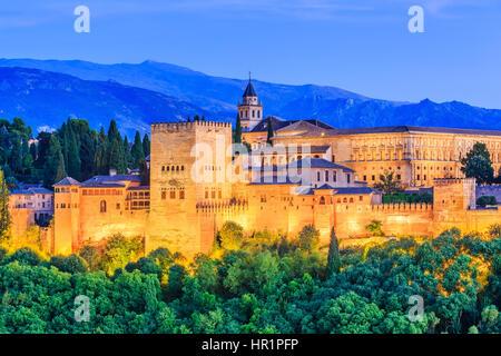Alhambra of Granada, Spain. Alhambra fortress at twilight. - Stock Photo