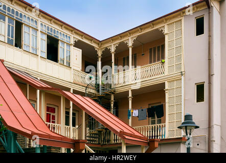 Houses in Old Tbilisi, Georgia, Caucasus, Middle East, Asia - Stock Photo