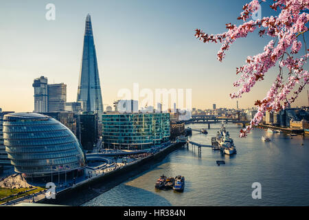 Thames and London City at spring - Stock Photo