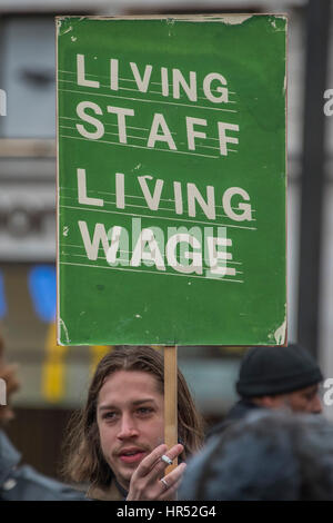 Picture house staff protest against low wages in their Cineworld owned chain - they call for a boycott outside the - Stock Photo