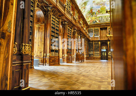 Philosophical Hall. Historical library of Strahov Monastery in Prague - Stock Photo