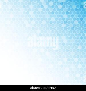 White circle mosaic on light blue background for abstract concept - Stock Photo
