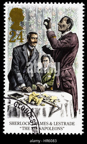 UNITED KINGDOM - CIRCA 1993: A used postage stamp printed in Britain celebrating Sherlock Holmes showing the Novel - Stock Photo