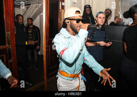 London, UK. 27th February 2017. The rapper known as Angel (real name Sirach Charles) making his way to the stage - Stock Photo