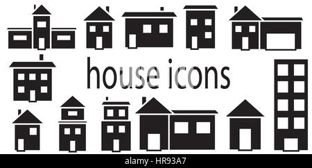 Set of houses icons vector isolated in white background. - Stock Photo
