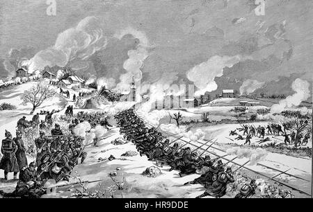 Battle of the railway dam near Bethoncourt, France, Situation from the time of The Franco-Prussian War or Franco - Stock Photo