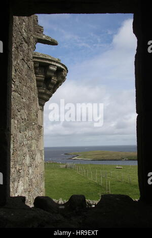 View from a window, Muness Castle, Unst, Shetland, Scotland, UK - Stock Photo