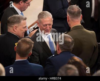 Washington, DC, USA. 28th Feb, 2017. United States Secretary of Defense James Mattis speaks to members of the military - Stock Photo