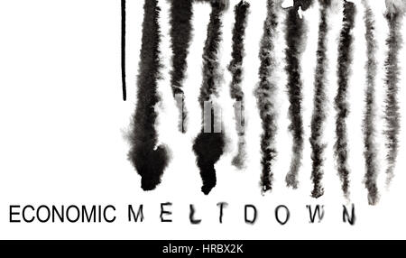 Economic meltdown. Melted down barcode. Economic recession and financial crisis concept - Stock Photo