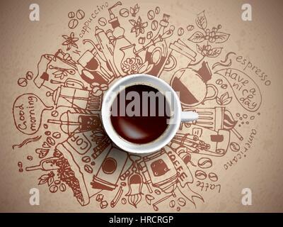 Coffee doodle concept - Stock Photo