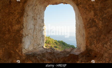 View out the window in Kayakoy, Turkey - Stock Photo