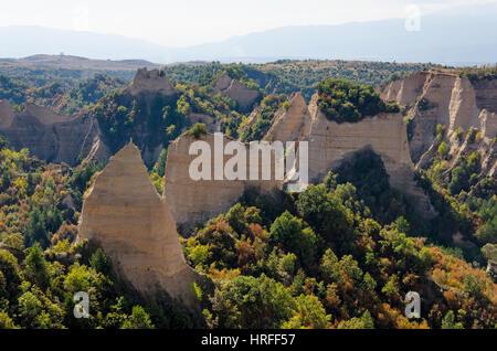 Sandstone pyramids in Melnik, Bulgaria - Stock Photo