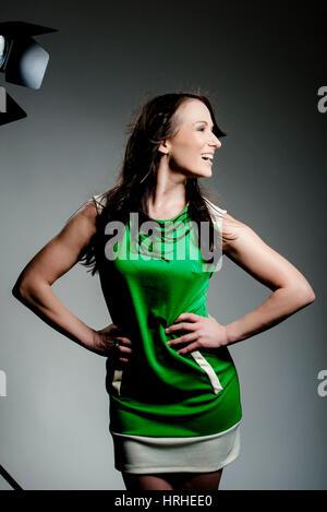 Model posiert im Fotostudio - model in photo studio - Stock Photo