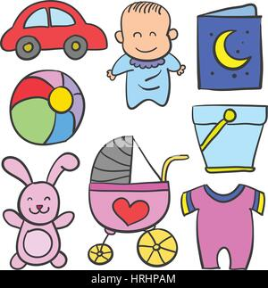 Baby element set of doodle collection - Stock Photo