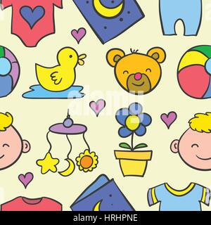 Doodle of baby set object collection - Stock Photo