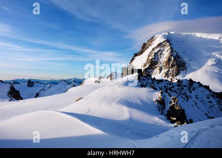 Mont Blanc du Tacul and Refuge des Cosmiques (Cosmiques Hut), Chamonix, Rhone Alpes, Haute Savoie, French Alps, - Stock Photo