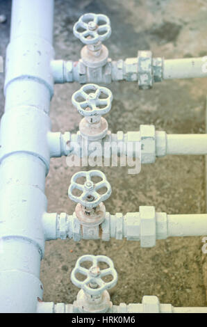 Water pip line in the city building - Stock Photo
