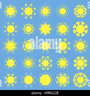 Different Sun Icons - Stock Photo