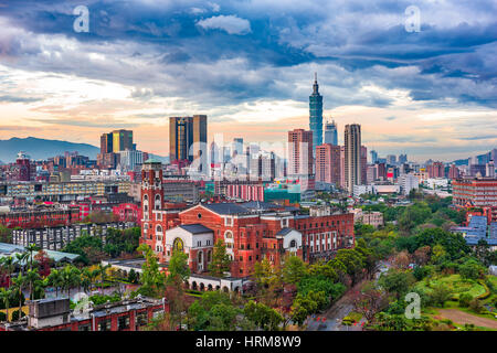 Taipei, Taiwan skyline over National Taiwan University. - Stock Photo