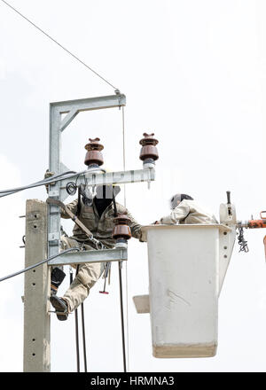 Two electrician are installing new cables of high voltage that one electrician is climbing on an electric power - Stock Photo
