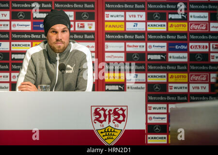 Stuttgart, Germany. 03rd Mar, 2017. A teary Kevin Grosskreutz offers his family and fans an apology for his indiscretions - Stock Photo