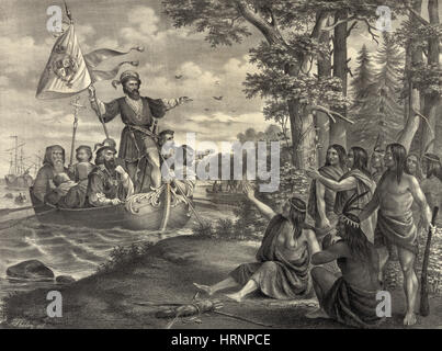 Christopher Columbus Landing in New World, 1492 - Stock Photo