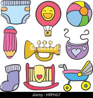 Doodle of toy set baby collection - Stock Photo