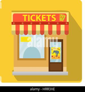 Cashier building with tickets to the circus icon flat style with long shadows, isolated on white background. Vector - Stock Photo