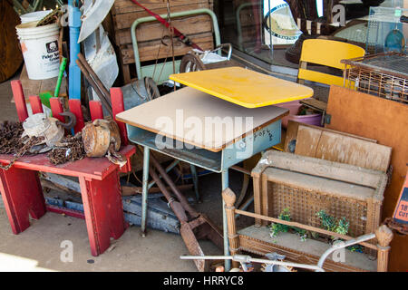 WHARTON, TX, FEBRUARY 2017: A pile of goods for sale in front of the store This and That in Wharton, Texas - Stock Photo