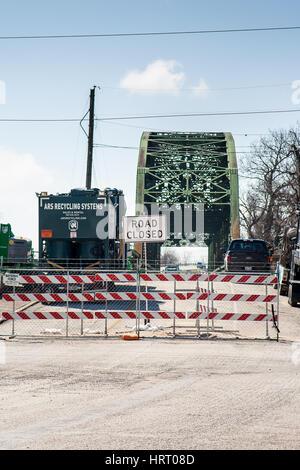 WHARTON, TX, FEBRUARY 2017: Road to bridge in Wharton, Texas closed for repairs - Stock Photo