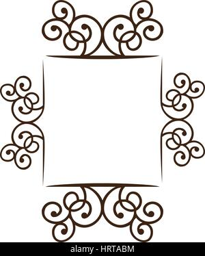 silhouette square frame decorative ornament swirl design - Stock Photo