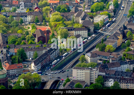 Aerial photo, blocking the A40 in the direction of Bochum and blocking the A52 before the ascent to the A40, Essen, - Stock Photo