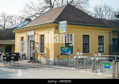 Cafe Hietzing and Entrance to Schönbrunn Zoo, tiergarten,Vienna, Austria, Europe. - Stock Photo