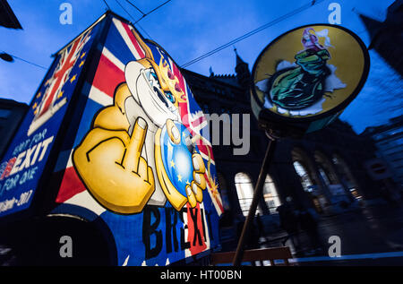 Fools parade through the narrow streets of the town centre with a Brexit-themed float, Basel, Switzerland, 6 March - Stock Photo