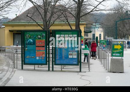 Entrance to Schönbrunn Zoo, tiergarten,Vienna, Austria, Europe. - Stock Photo