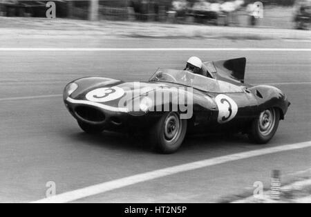 1957 Jaguar D type Ecurie Ecosse, Le Mans winning car driven by Flockhart-Bueb. Artist: Unknown. - Stock Photo