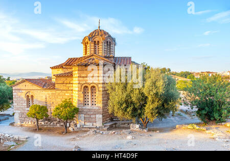 The medieval Greek Orthodox church of Holy Apostles located in archaeological site of Ancient Agora, Athens, Greece. - Stock Photo