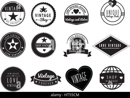 SET OF BLACK AND WHITE GRAPHIC DESIGN LOGO IDEAS for a vintage or retro shop or store - Stock Photo