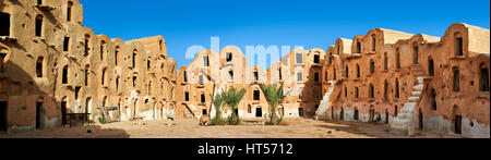 Panoramic of Ksar Ouled Soltane, a traditional Saharan Berber and Arab fortified adobe vaulted granary cellars, - Stock Photo