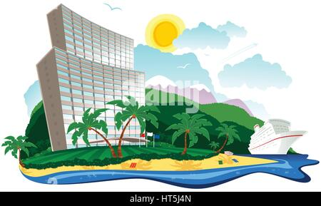 An illustration of a large hotel at the beach side on a tropical island. - Stock Photo