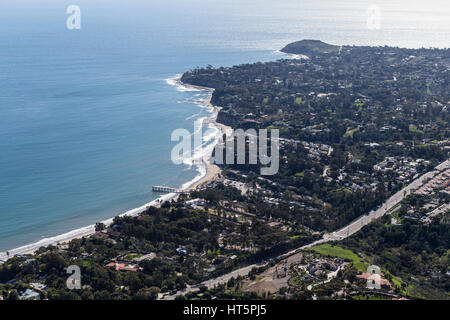 Aerial view towards Paradise Cove and Point Dume in Malibu, California. - Stock Photo