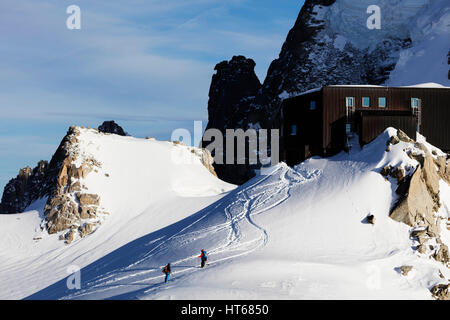 Grand Capucin and Refuge des Cosmiques (Cosmiques Hut), Chamonix, Rhone Alpes, Haute Savoie, French Alps, France - Stock Photo
