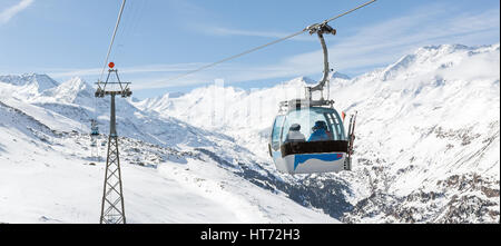 Panoramic view of the gondola lift at the ski resort of Hochgurgl in the Austrian Alps - Stock Photo