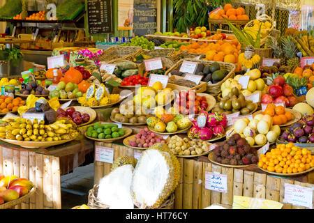 Exotic fruits on the Viktualienmarkt in Munich, Germny - Stock Photo
