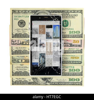 Smartphone with broken display lying on money banknotes Isolated on White background with cliping path. Need new - Stock Photo
